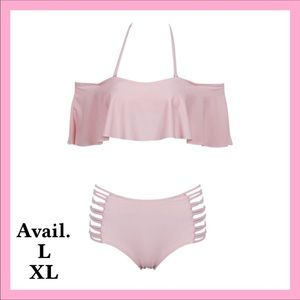 Other - Sexy Pink 2 Piece Ruffle Swimsuit